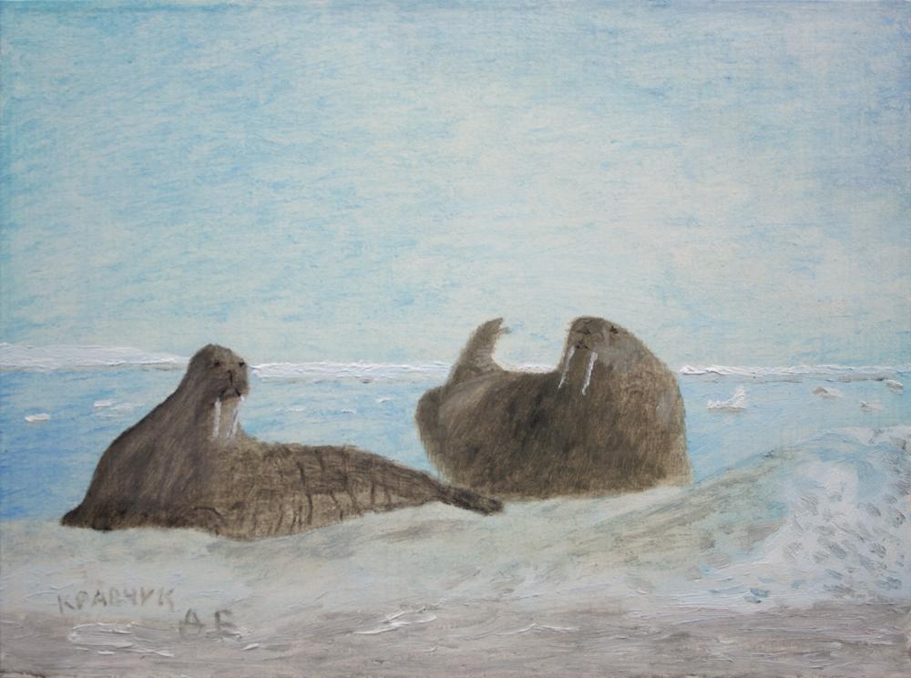 """Картина - """"Моржи на плавающей льдине"""""""