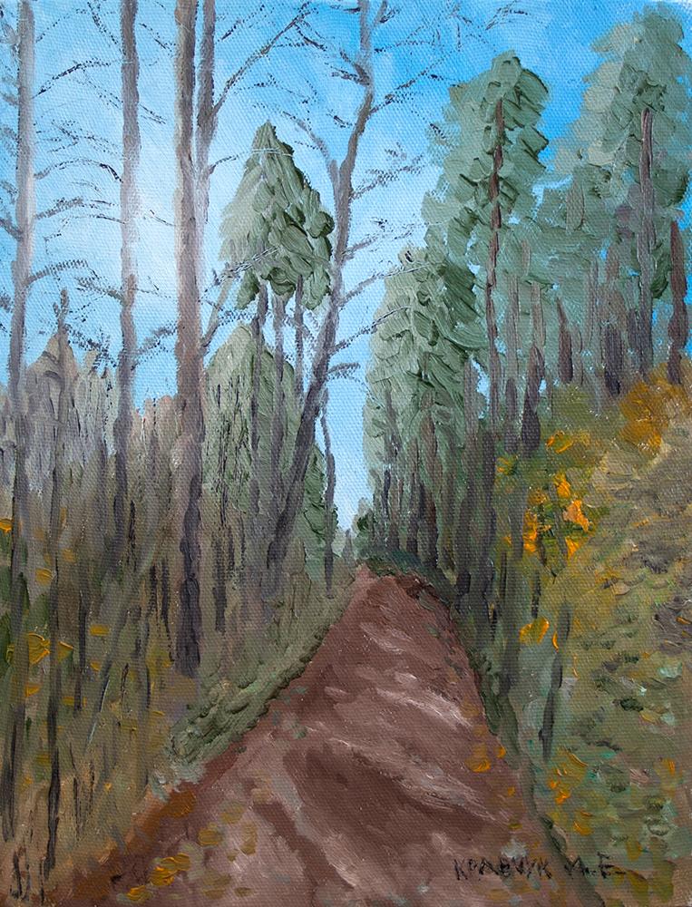 """Картина - """"Кузьминский лесопарк ранней осенью"""""""