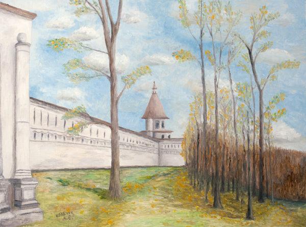 """Картина - """"У стен Новоиерусалимского монастыря"""""""