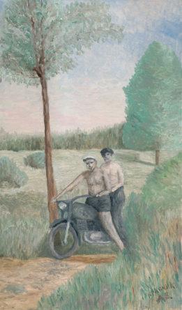 """Картина - """"Мотоциклисты на природе"""""""