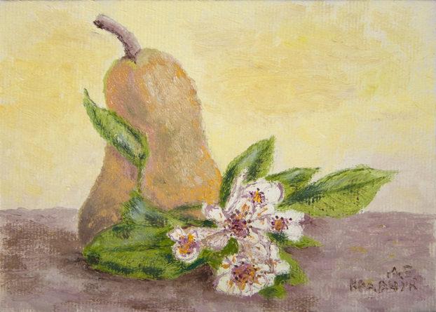"""Картина - """"Натюрморт с грушей и цветами"""""""