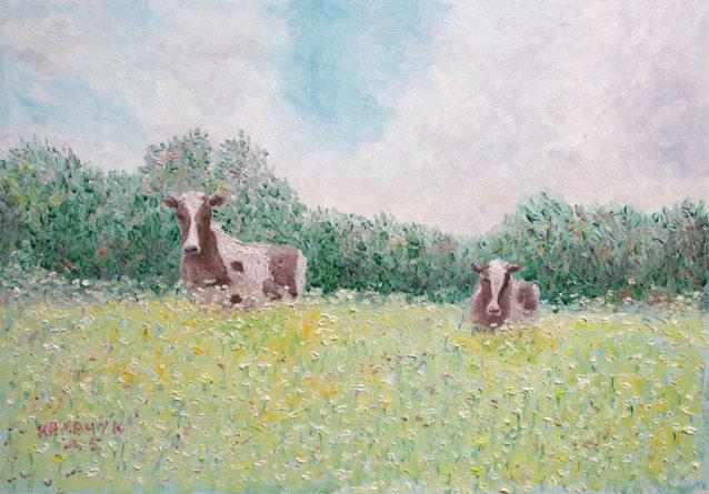 "Картина - ""Пейзаж с коровами"""
