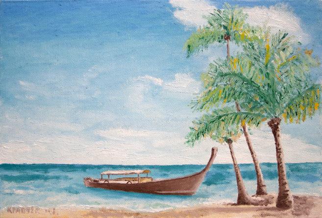 """Картина - """"Лодка и пальмы"""""""