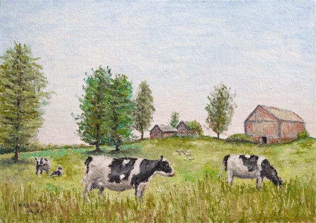 """Картина - """"Коровы на поле"""""""